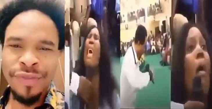 Lady in tears as Prophet Odumeje prophesies death to her, calls her a burial ground (Video)