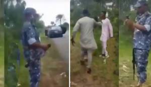 Angry Man slaps Police officer at checking Point – Delta state (video)