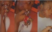 Nigerian girl tattoo her partner's name on her face to profess never ending love (WATCH)
