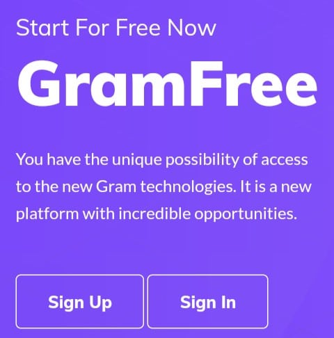 Gramfree Sign Up page