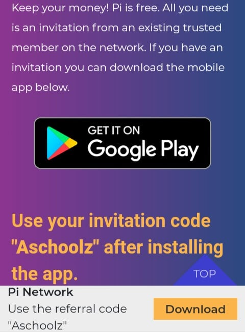Download pi Network mining App
