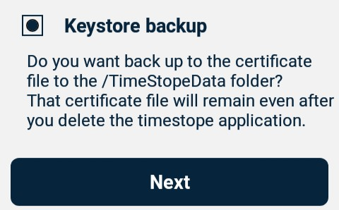 TimeStope keystore backup