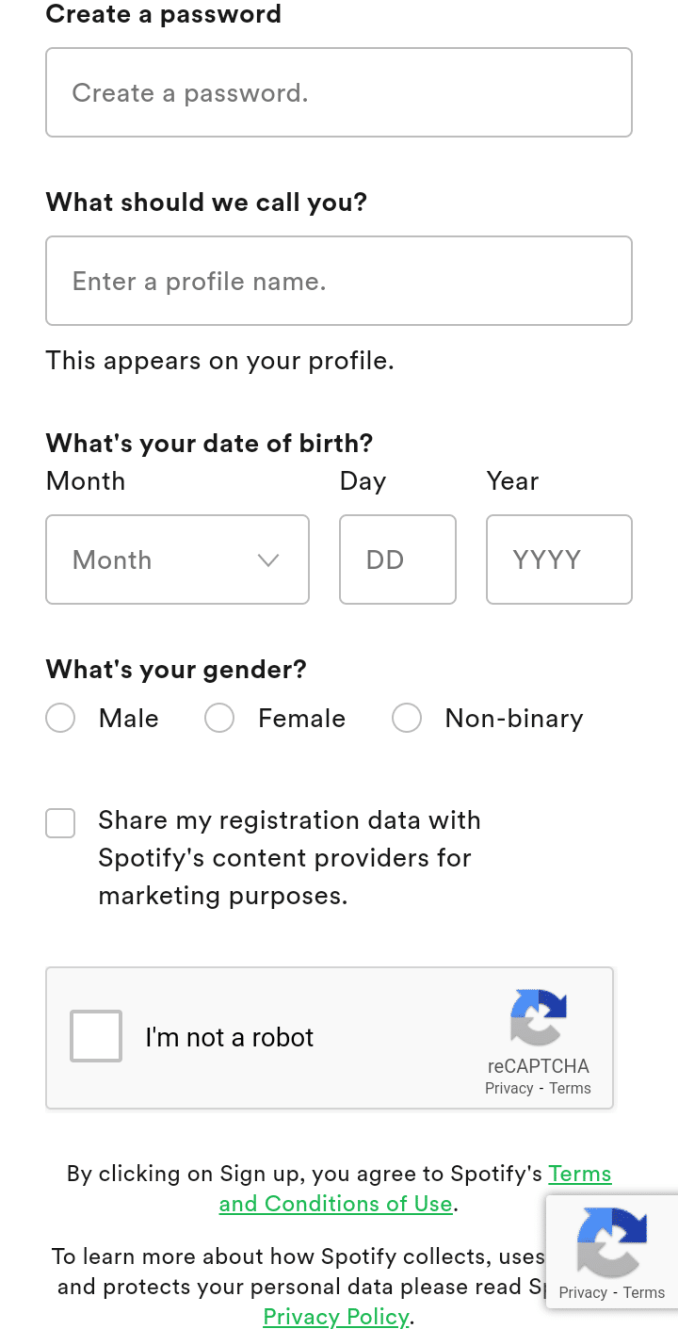 Spotify account sign up