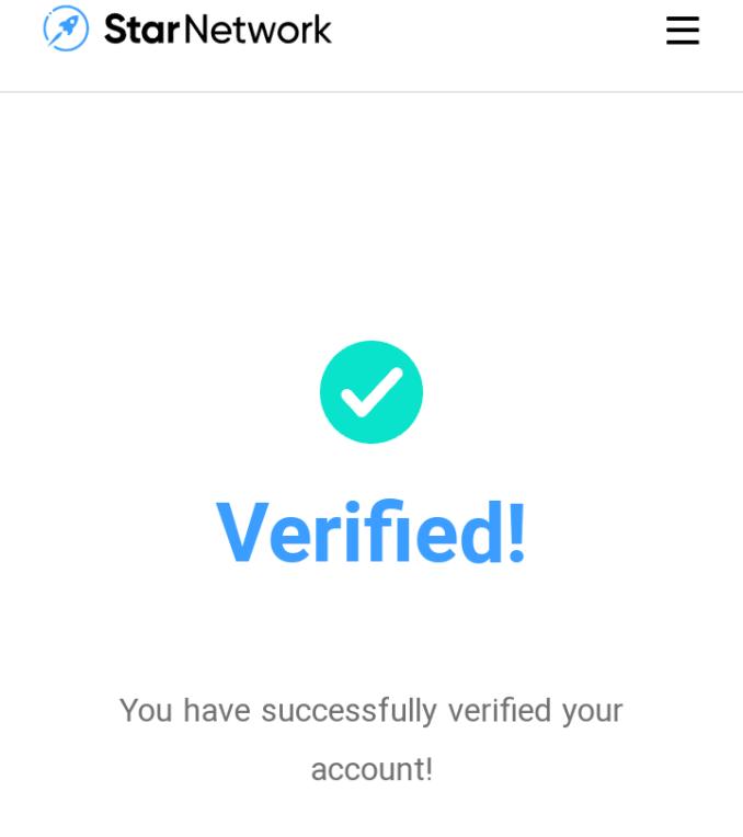 Star Network Account verified