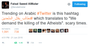 Faisal tweet 'Killing of atheists'