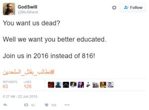 GodSwill tweet 'Killing of atheists'