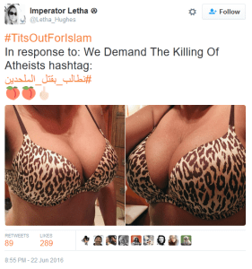 Letha tweet 'Killing of atheists' #titsoutforislam
