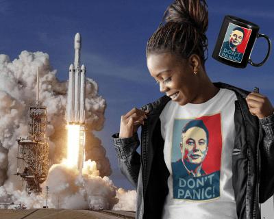 SpaceX Elon Musk Don't Panic! shirt mockup