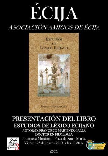 CARTEL AMIGOS DE ECIJA LIBRO ESTUDIOS DEL LEXICO ECIJANO NEGRO