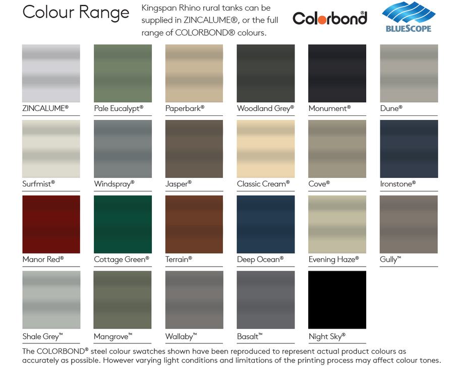Steel Water Tank Colour Range