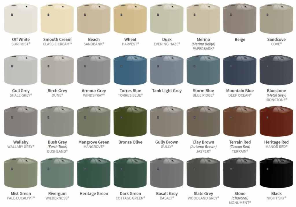 ASC Water Tanks Colour Choices
