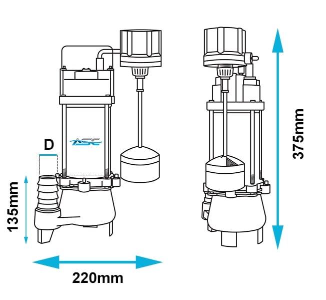 ASC D18VAMAG Vortex Drainage Sump Pump Dimensions