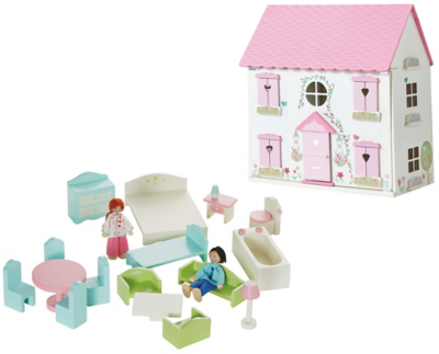 George Home Wooden Dolls House & Furniture Set