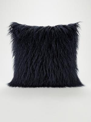 navy mongolian faux fur cushion