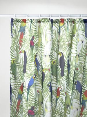 green jungle birds shower curtain