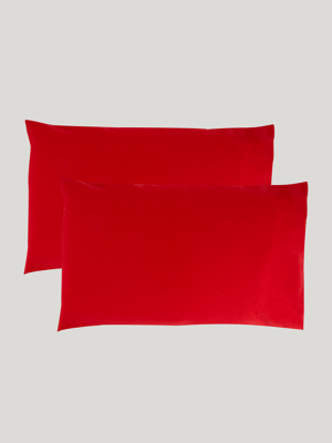 red soft cosy brushed cotton pillowcase pair