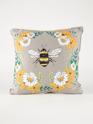 grey floral bumblebee cushion