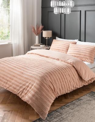 Pink Luxury Tufted 100 Cotton Duvet Set Home George At Asda