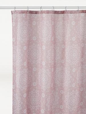 misty rose mandala shower curtain