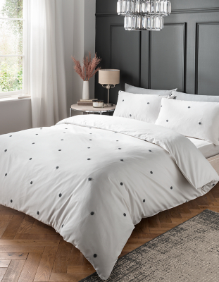 White Luxury Embroidered Spot Cotton Duvet Set Home George At Asda