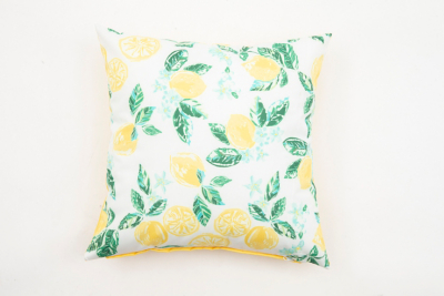 yellow lemon leafy outdoor cushion