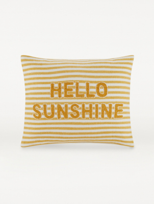 yellow hello sunshine cushion