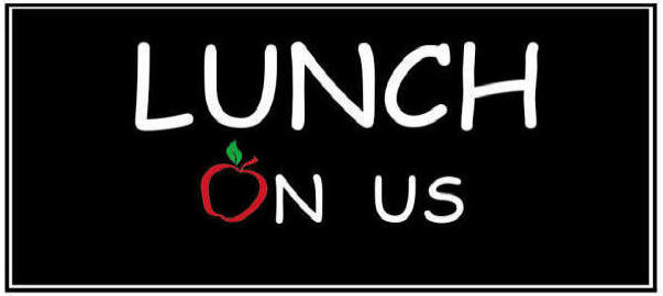 """Lunch on Us graphic represented by the text """"Lunch on Us"""" with an apple"""