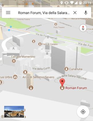 Google maps nos fóruns imperiais de Roma