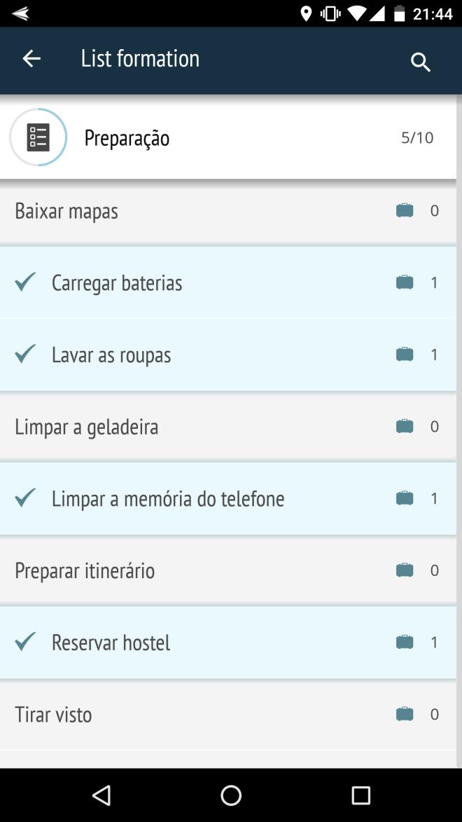 Upacking list apps para viajar