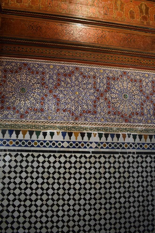 Marrakech palacio bahia teto detalhes parede 2