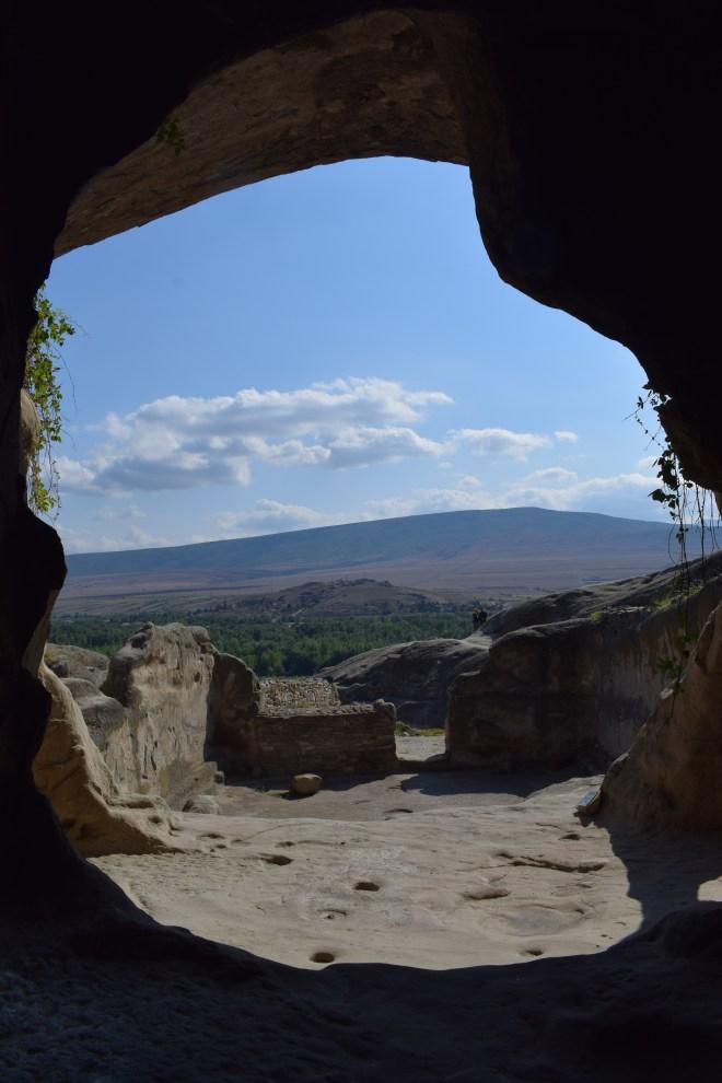 Uplistsikhe cidade cavernas Georgia templo das amoras vista de dentro