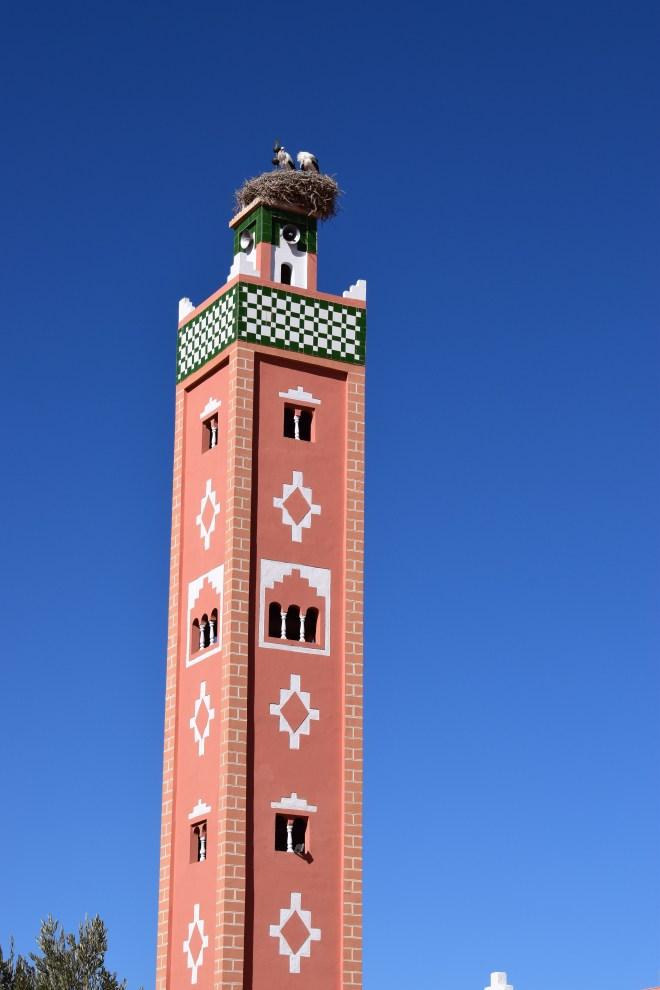Ait Ben Haddou sul marrocos mesquita ninho cegonha