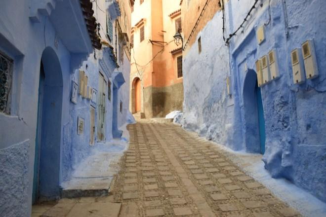 Marrocos Chefhaouen cidade azul ruas azuis e marrons