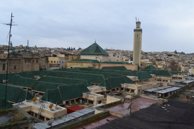 Marrocos Fez mesquita e mausoleu moulay idriss II vistos de cima