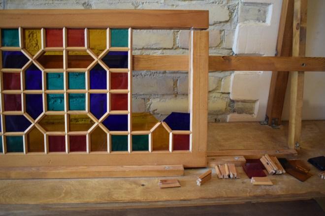 Sheki rota seda centro artesanato shebeke vidro madeira encaixados