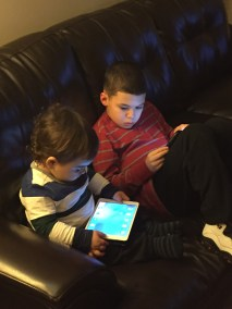 Hanging out with cousin Zackary