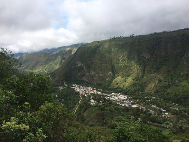 An overhead view of Apuela, Ecuador where the Advancing Life foundation will build the vocational school.