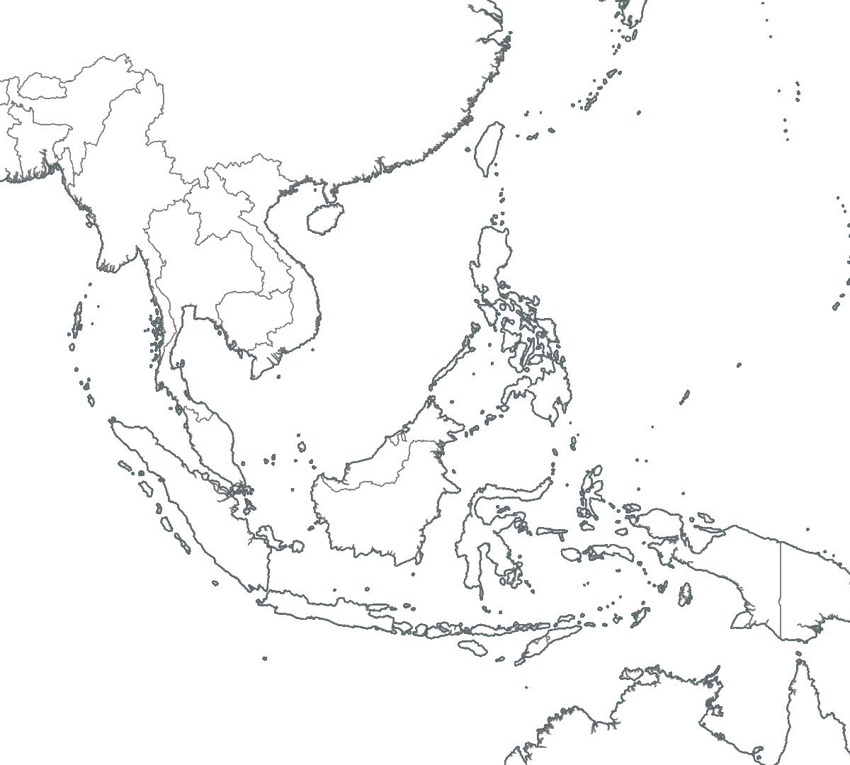 Southeast Asia Map Outlines