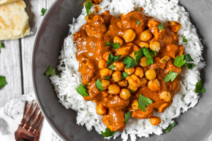 closeup of curry coconut sauce with chickpeas