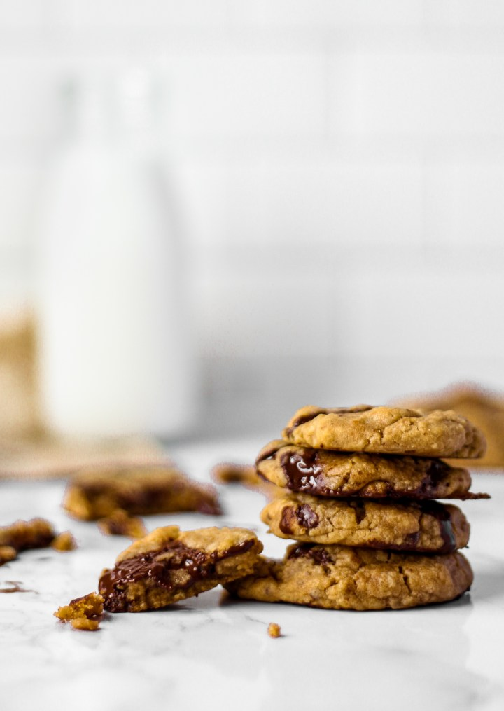 Brown Butter Dark Chocolate Chip Cookies stacked