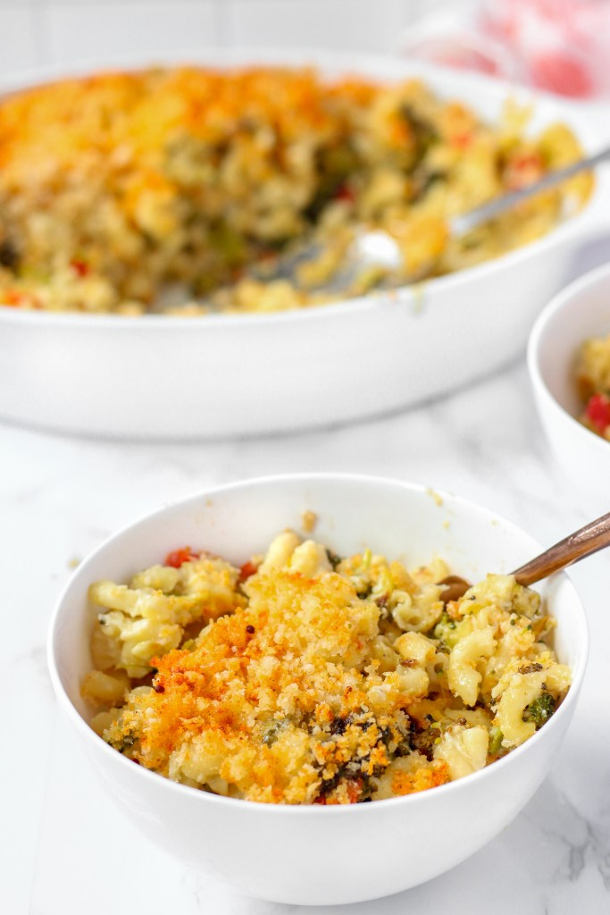 one bowl of Fontina Baked Macaroni and Cheese