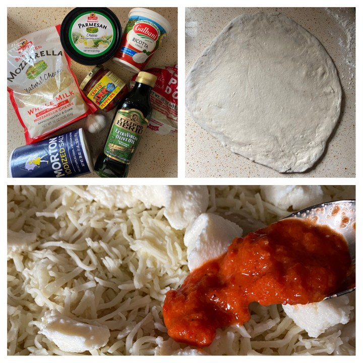 a block of three photos. Top left: ingredients on the counter: mozzarella cheese, salt, garlic, roasted red peppers, pizza dough, ricotta and extra virgin olive oil Top right: pizza dough rolled out on the counter. Bottom: spooning the sauce over the cheese.