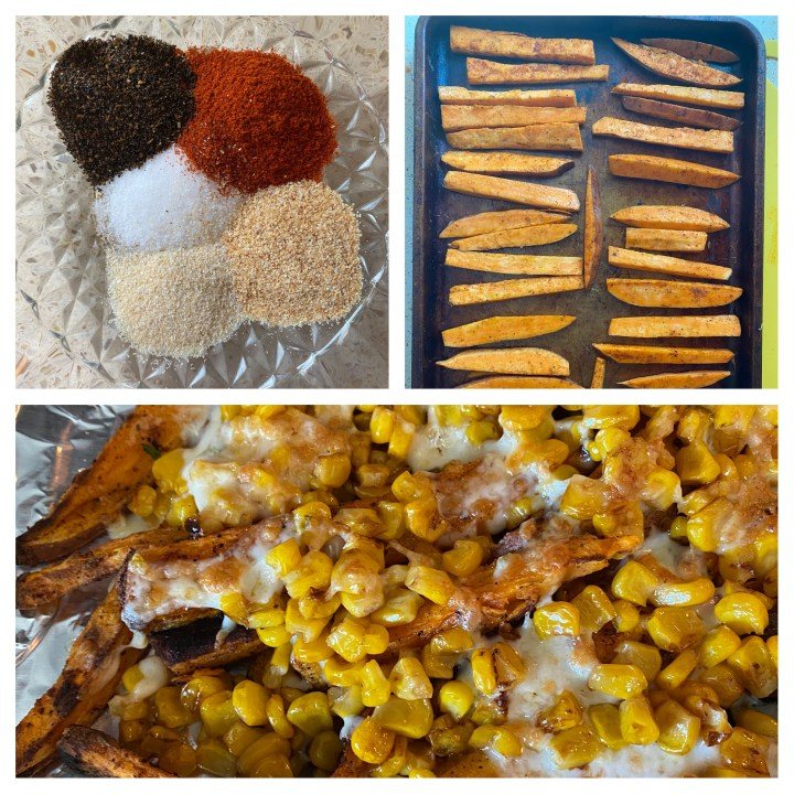 Three photo collage. Top left a bowl with the seasoning spices for the sweet potato fries. Top right the cut fries seasoned on the baking sheet. Bottom: the baked loaded fries.