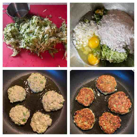 Collage of 4 photos. Upper left: shredded zucchini Upper right: a bowl with all of the ingredients in it. Lower left: The fritters frying in the oil. Lower right: the fritters flipped frying the other side.
