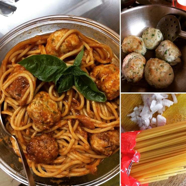 Spaghetti 'n' Chicken Balls - Quick and Yummy