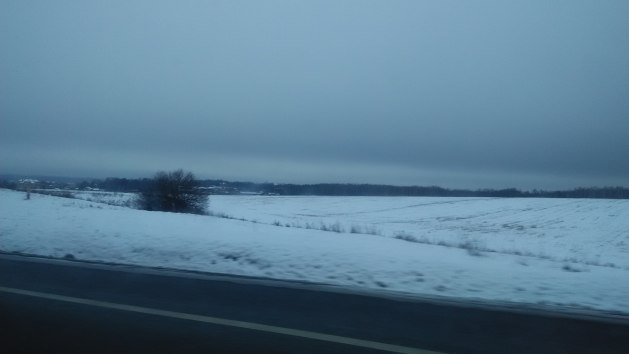 There's snow all around..