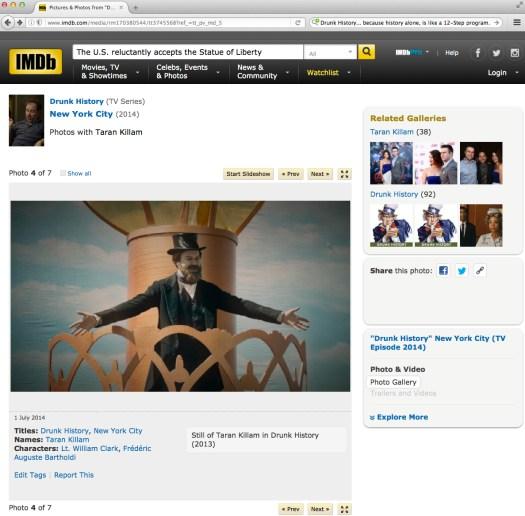 """Fair use of Frédéric A. Bartholdi y una base de datos sobre """"películas"""" en los interwebs. Vía IMDB . com"""
