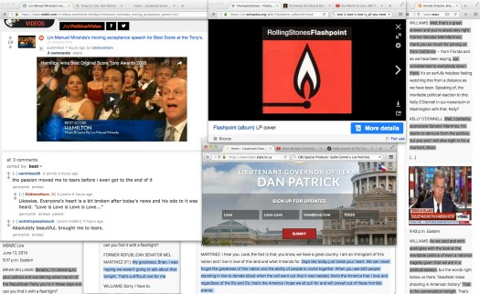 """""""…and with [all] apologies."""" this blog agrees with Mr. Williams approach with former republican senator Melquíades Martínez, the man [Williams] was only doing 'housekeeping and math'. 103 shell casings, 50 dead and 53 injured… millions hurting [some might add]; except of course, one Dan Patrick in the great state of Texas. The man [DAN PATRICK] hides behind 'his' good book in order to eco 'that' Lieutenant Governor's intolerant pandering during a very heated political year."""