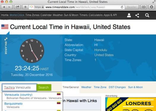 Estimado Bray-Güay: En Hawaii sigue siendo la Onceava Hora [por la noche] en el reloj. | Uso justo de todos los medios para dar continuidad a la nota de ayer.