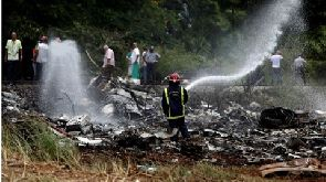 The plane came down in a field near Havana's main airport